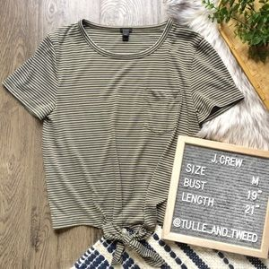 J. Crew green white stripe tie waist pocket tee M